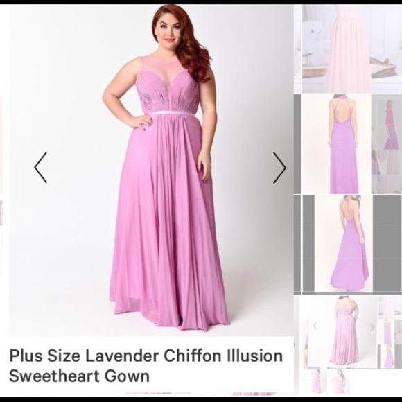 Plus size chiffon lavender dress